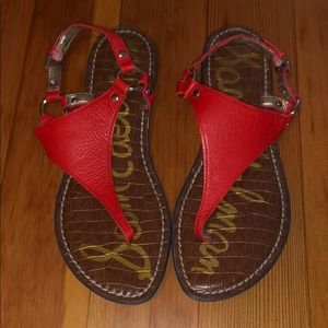 Sam Edelman red leather sandals